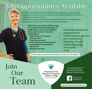 Job Opportunities Available, Hayward Area Memorial ...