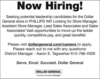 Now Hiring Dollar General Phillips Phillips Wi