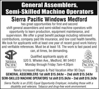 General Assemblers, Semi-Skilled Machine Operators