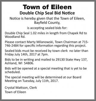 Double Chip Seal Bid Notice