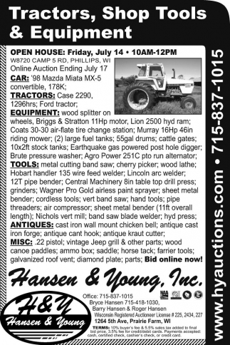 Car, Tractors, Equipment, Tools, Antiques