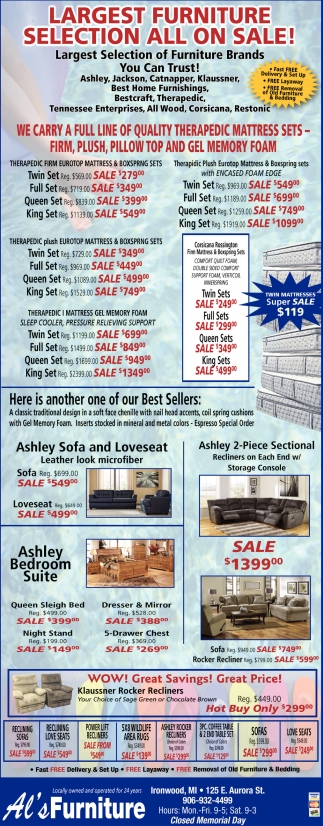 Largest Furniture Selection All On Sale!