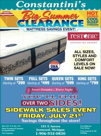 Big Summer Clearance. Mattress Savings Event!
