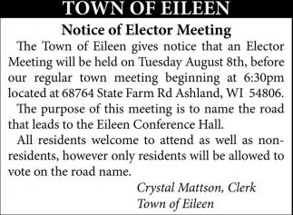 Notice of Elector Meeting