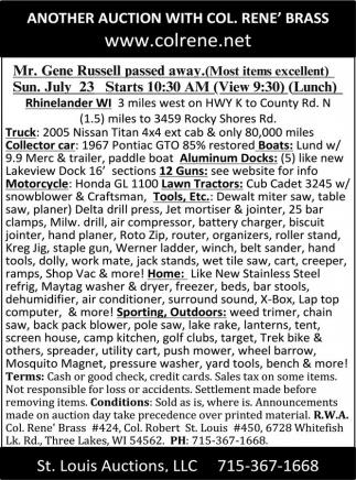 Truck, Collector car, Boats, Docks, Motorcyrcle, Lawn Tractors, Tools