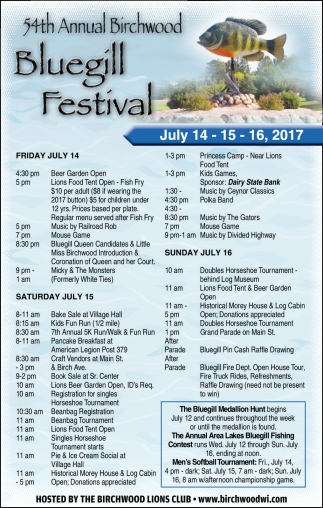 54th Annual Birchwood Bluegil Festival