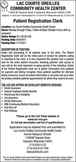 Patient Registration Clerk