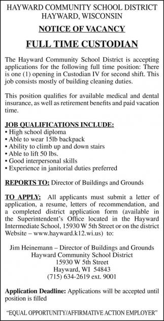 Notice Of Vacancy Hayward Community School District Hayward WI