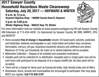 2017 Sawyer County Household Harazdous Waste Cleansweep