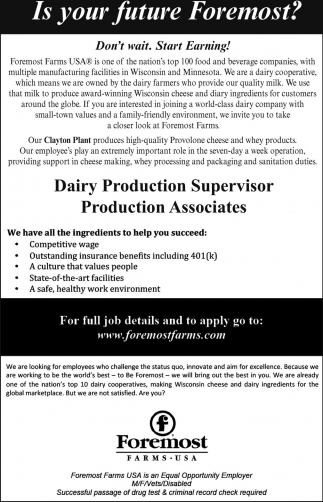 Dairy Production Supervisor / Production Associates
