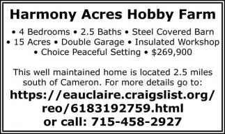 269 900 Contact Bob Sherry Hanson Harmony Acres Hobby Farm