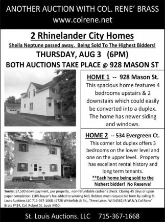 2 Rhinelander City Homes
