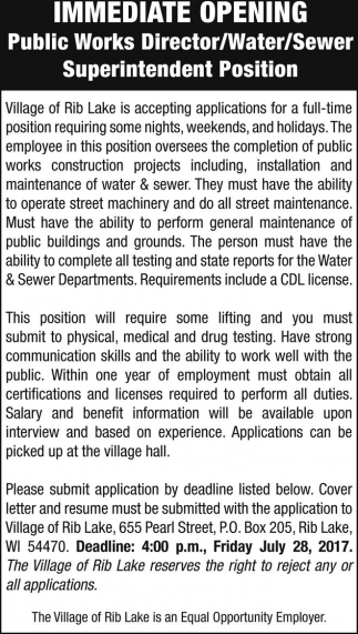 Public Works Director / Water / Sewer Superintendent, Village of Rib ...
