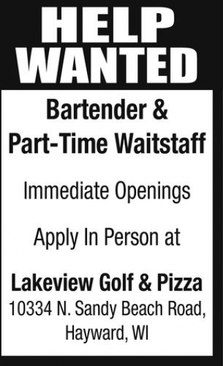 Bartender & Part-Time Waitstaff