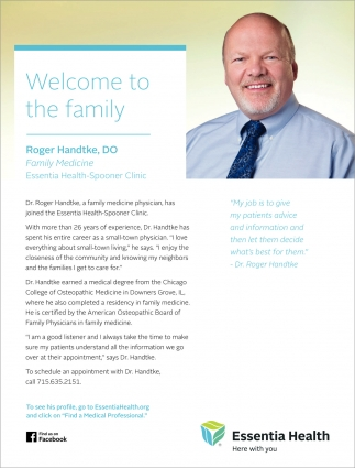 Welcome to the family Roger Handtke, DO