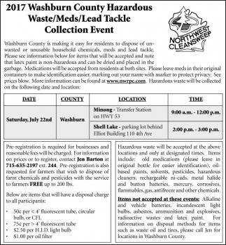 2017 Washburn County Hazardous Hazardous Waste/Meds/Lead Tackle Colloction Event