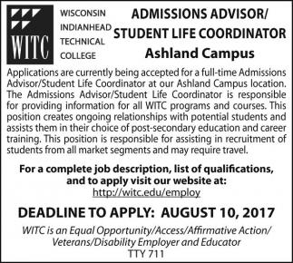 Admissions Advisor/Student Life Coordinator