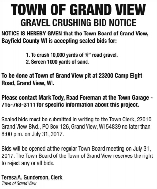 Gravel Crushing Bid Notice