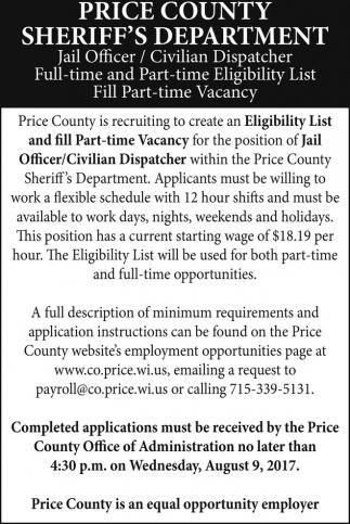 Jail Officer / Civilian Disoatcher / Eligibility List