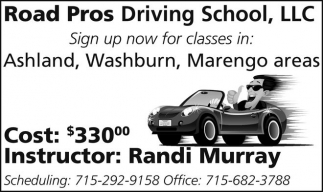 Classes in Ashland, Washburn, Marengo areas