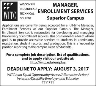 Manager, Enrollment Services