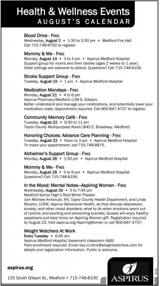 Health & Wellness Events August's Calendar