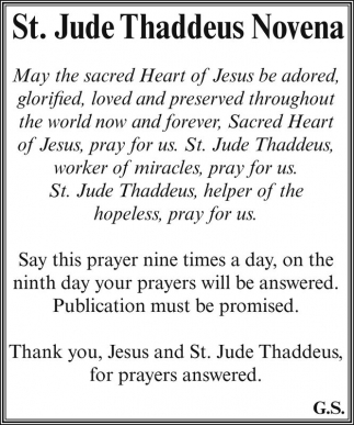 Thank you jesus and st jude thaddeus for prayers answered st ads for st jude thaddeus novena in park falls wi thecheapjerseys