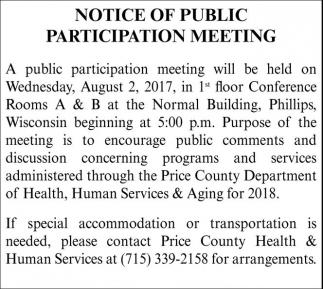 Notice of Public Participation Meeting