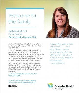 Welcome to the family Jamie Lea Bell, PA-C