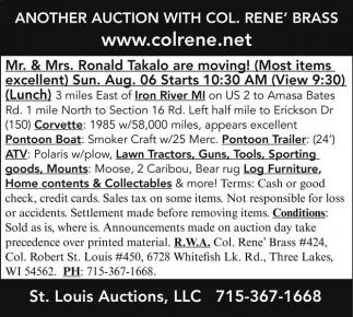 Corvette, Pontoon Boat, ATV, Lawn, Tractors, Guns, Tools, Sporting Goods, Furniture