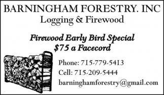 Firewood Early Bird Special $75 a Facecord