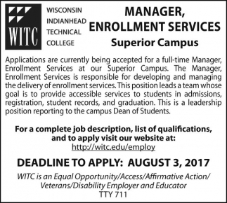Manager, Enrollment Services