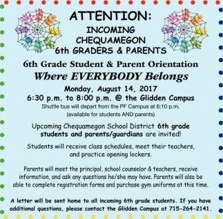 6th Grade Student & Parent Orientation