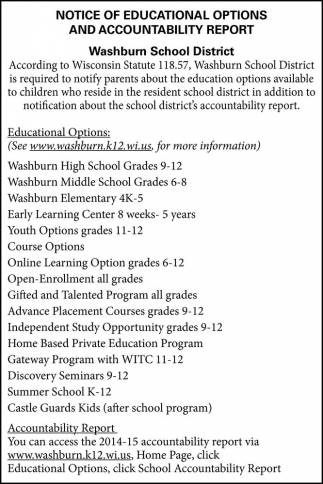 NOTICE OF EDUCATIONAL OPTIONS AND ACCOUNTABILITY REPORT