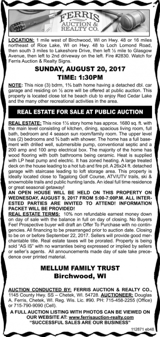 Real Estate for Sale at Public Auction