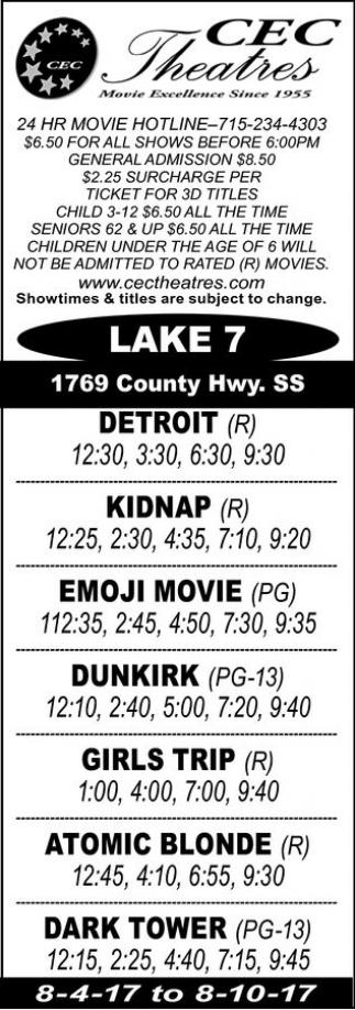Detroit - Kidnap - Emoji Movie - Dunkirk - Girls Trip - Atomic Blonde - Dark Tower