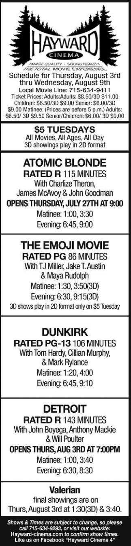 Atomic Blonde - The Emoji Movie - Dunkirk - Detroit - Valerian