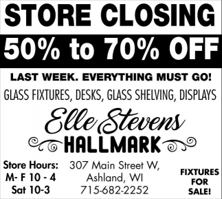 Store Closing 50% to 70% off