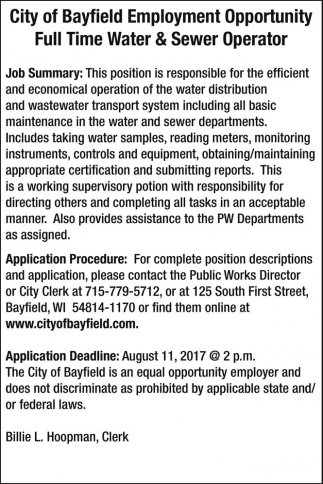 Full Time Water & Sewer Operator