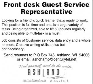 Front desk Guest Service Representative
