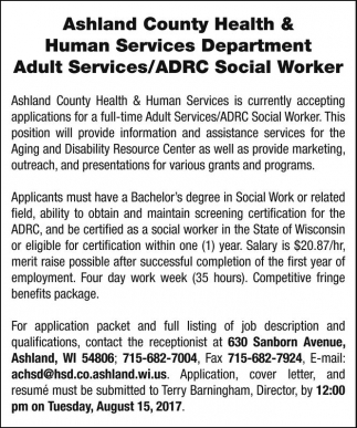 Adult Services / ADRC Social Worker