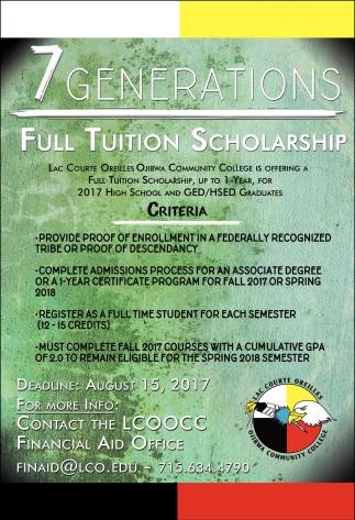 Full Tution Scholarship