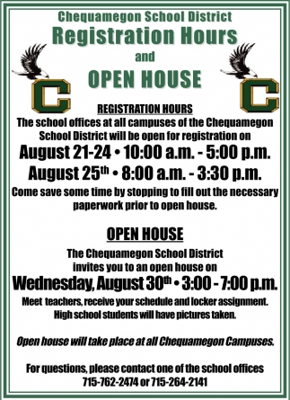 Registration Hours and Open House