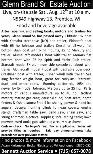 Glenn Brand Sr. Estate Auction