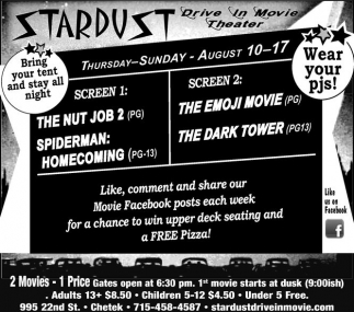 Ads For Stardust Twin Drive-In Theater in Chetek WI  sc 1 st  Ads & Nut Job 2 Spiderman Homecoming - The Emoji Movie The Dark Tower ...
