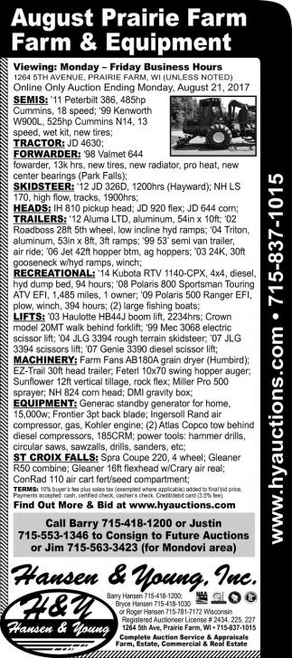 August Prairie Farm, Farm & Equipment