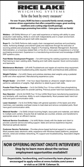 Employment Opportunities, Rice Lake Weighing Systems, Rice Lake, WI