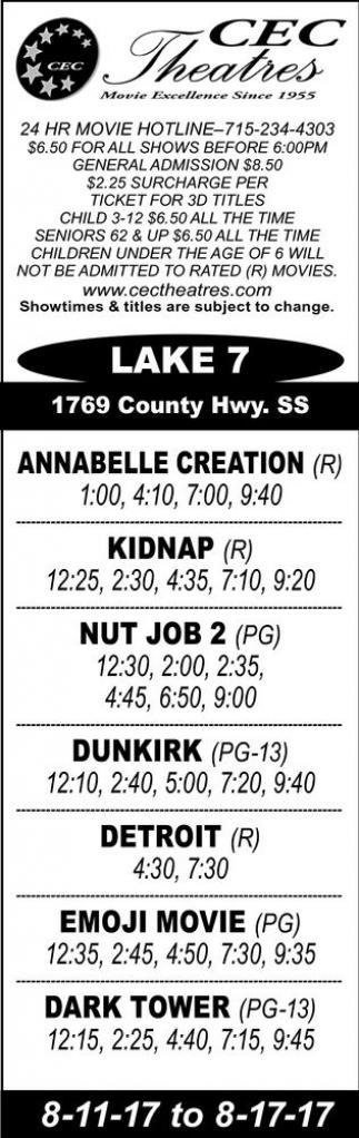 Annabelle Creation - Kidnap - Nut Job 2 - Dunkirk - Detroit - Emoji Movie - Dark Tower
