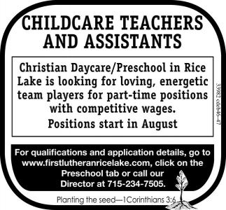 CHILDCARE TEACHERS AND ASSITANTS