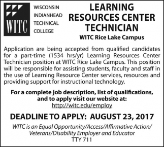 Learning Resources Center Technician